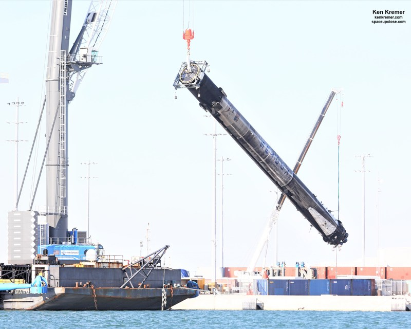 Legless Quadruply Launched SpaceX Falcon 9 Lowered Horizontal After Landing Legs Detached, Shipped Back to Cape: Photos