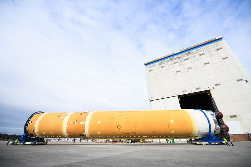 NASA Prepares Artemis I SLS Core Stage for Shipment on Pegasus Barge