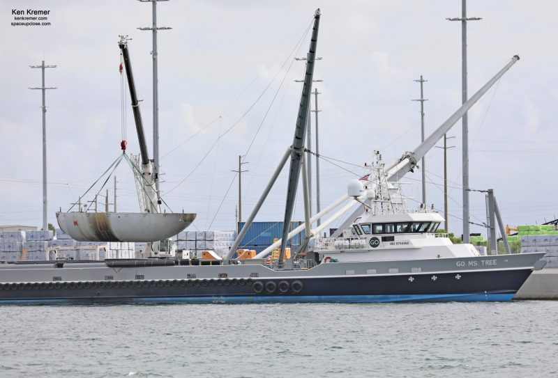 SpaceX Payload Fairings Caught by Boats from Korean Satellite Launch Return to Port Canaveral: Video/Photos