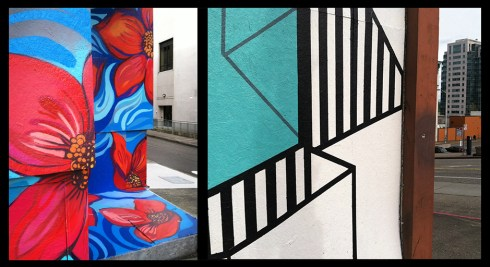 "Left: detail of ""Turn on Spring"" by Chelsea O'Sullivan. Right: detail of ""Show Your Stripes"" by Diana Leigh Surma."