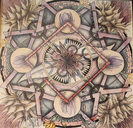 Botanical mandala by Stephanie King, Mixed-Media on Paper