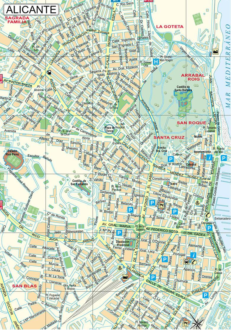 Mappa Alicante  Cartina di Alicante in Spagna