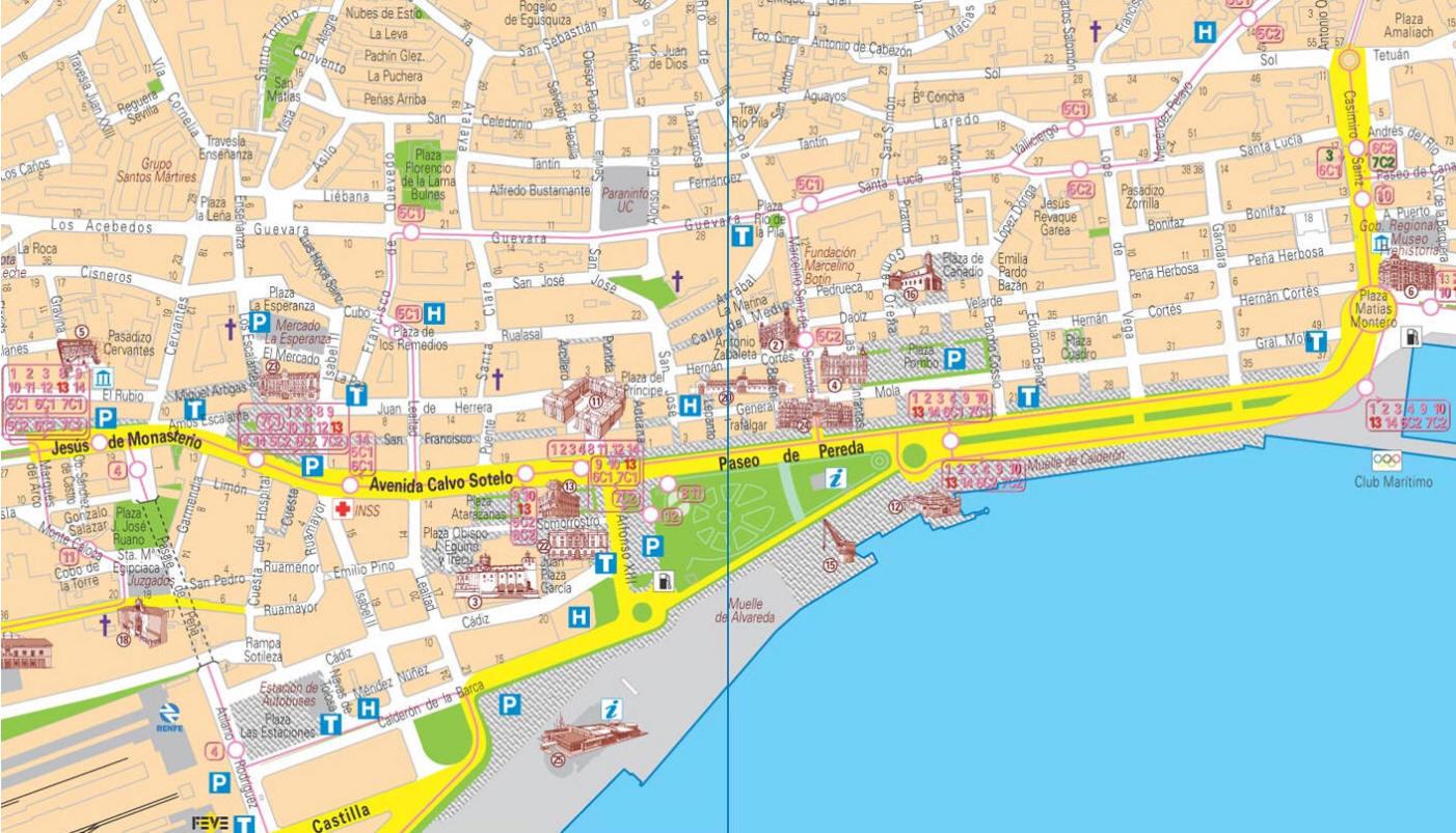 Mappa Santander  Cartina di Santander in Spagna