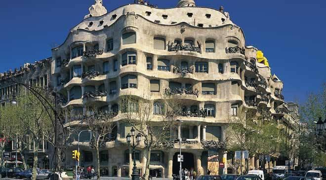 Casa Mil La Pedrera monuments in Barcelona at Spain is culture