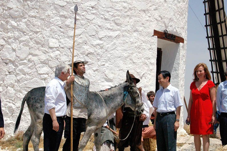 スペインのアラゴン州、サラゴサにて世界万博の階差入れた2008年。皇太子殿下はラ・マンチャ地方のコンスエグラを公式訪問されました。大変リラックスされた様子で、ロバに腕を回したり、地元の人々と言葉を交わしたりされたといいます。