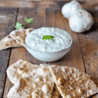 Homemade Flatbread with Tzatziki
