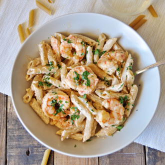 Shrimp and Penne Pasta with Homemade Alfredo Sauce