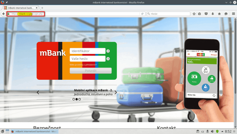 mbank podvod phishing