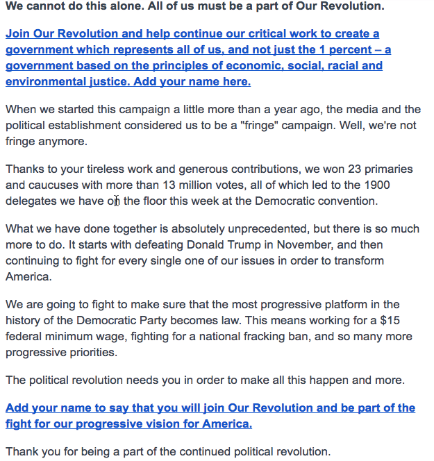 Join Our Revolution and help continue our critical work to create a government which represents all of us, and not just the 1 percent – a government based on the principles of economic, social, racial and environmental justice. Add your name here.