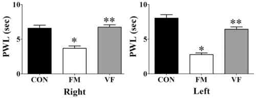 small resolution of figure 2 differences in reaction time in the plantar test caused by vf administration effects of vf on nociceptive responses in the plantar test