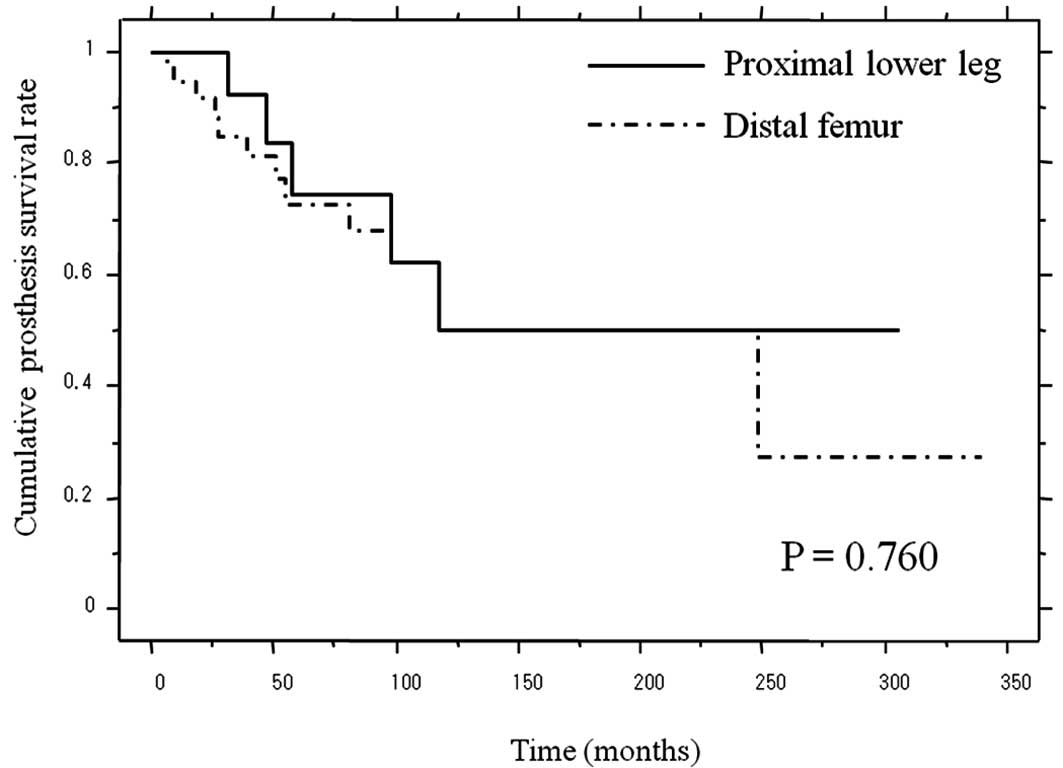 hight resolution of cumulative prosthetic survival of patients with sarcoma around the knee