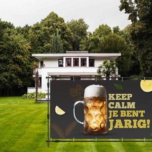 Verjaardag spandoek keep calm je bent jarig bier