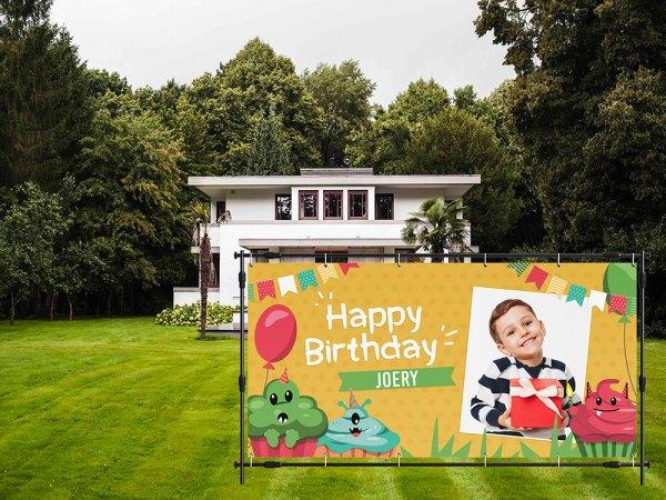 verjaardag spandoek monsters tuin