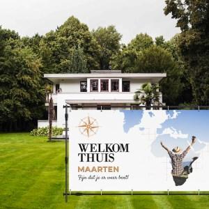 welkom thuis spandoek wereldkaart tuin