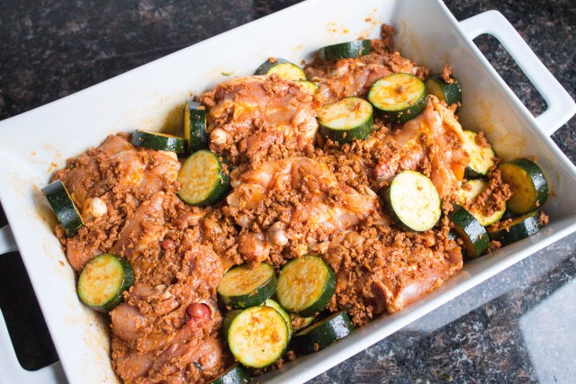 Four-Ingredient baked chicken with soy chorizo dinner that takes little prepping.