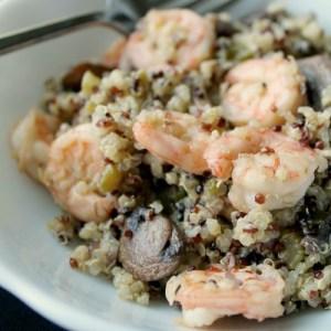 Shrimp & Mushroom Quinoa With White Truffle Infused Oil