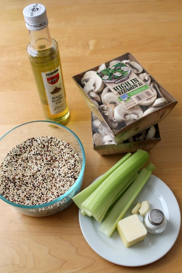 Shrimp and mushroom quinoa with white truffle oil