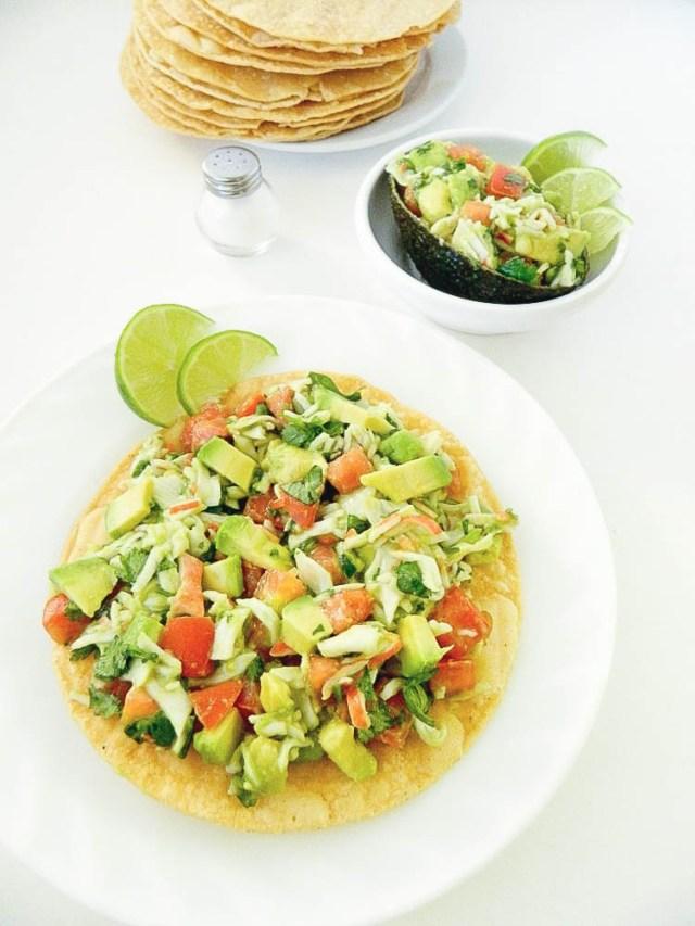crab meat and avocado tostadas