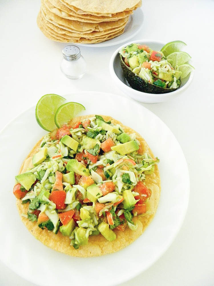 crab meat and avocado tostadas