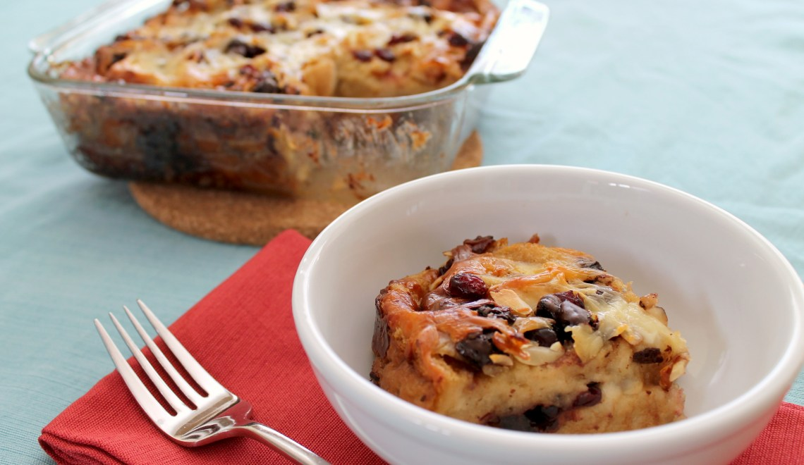 Capirotada with chocolate, almonds, and dried fruit