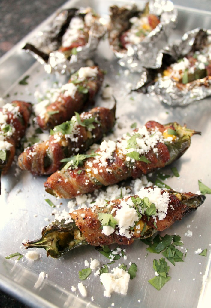 Bacon wrapped jalapenos with corn and feta cheese 15