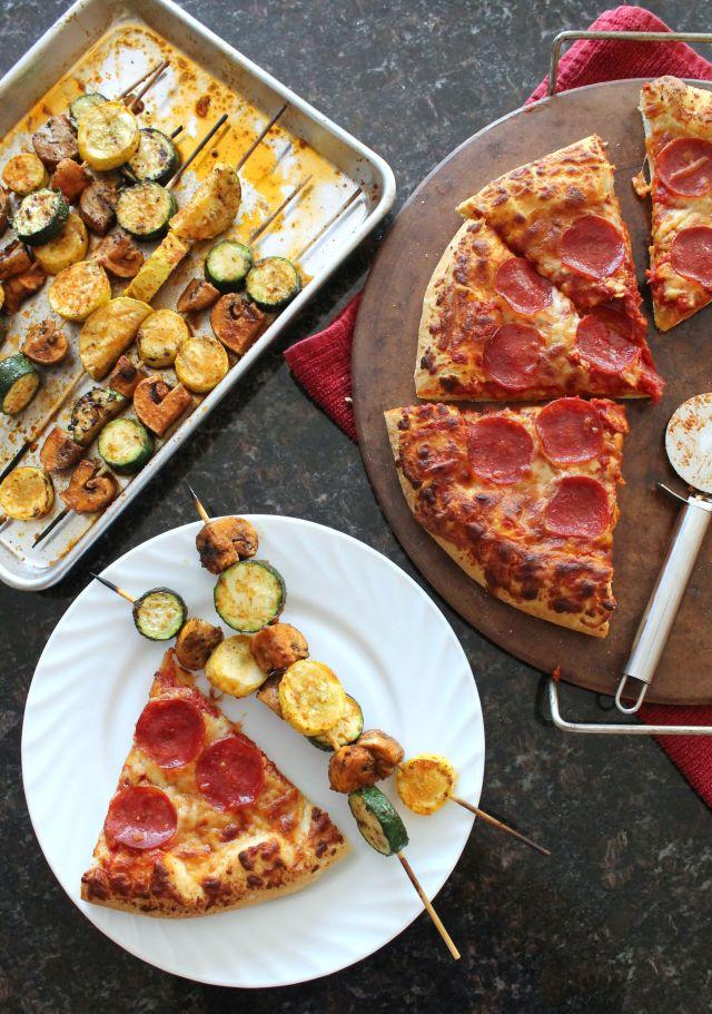 Grilled Seasoned Veggie Kabobs with Freschetta Pizza 9.2