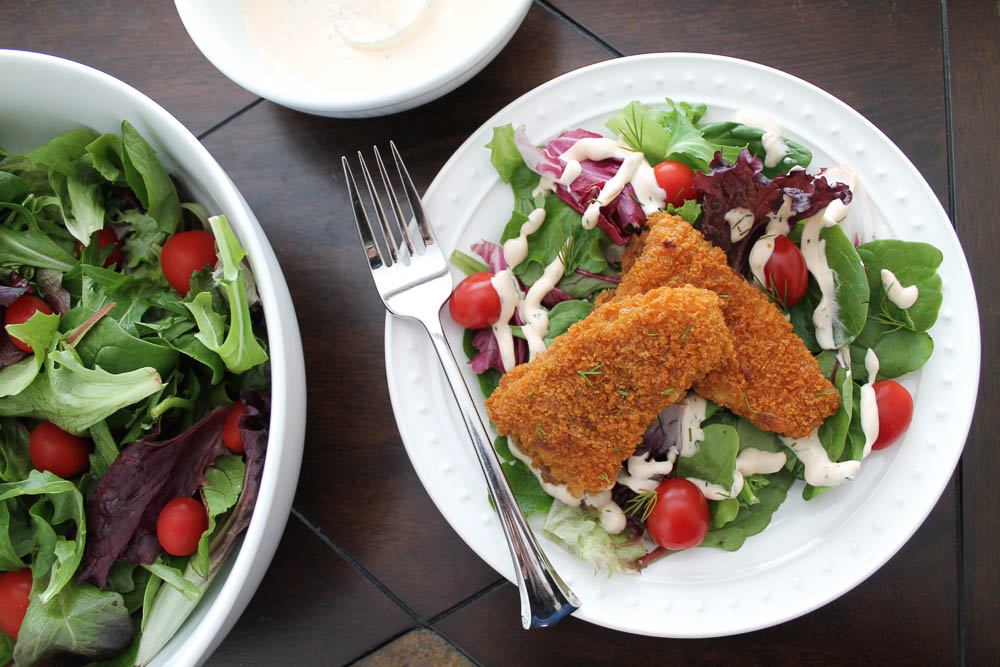 Crispy Battered Fish Fillet Salad with Creamy Chipotle Dressing