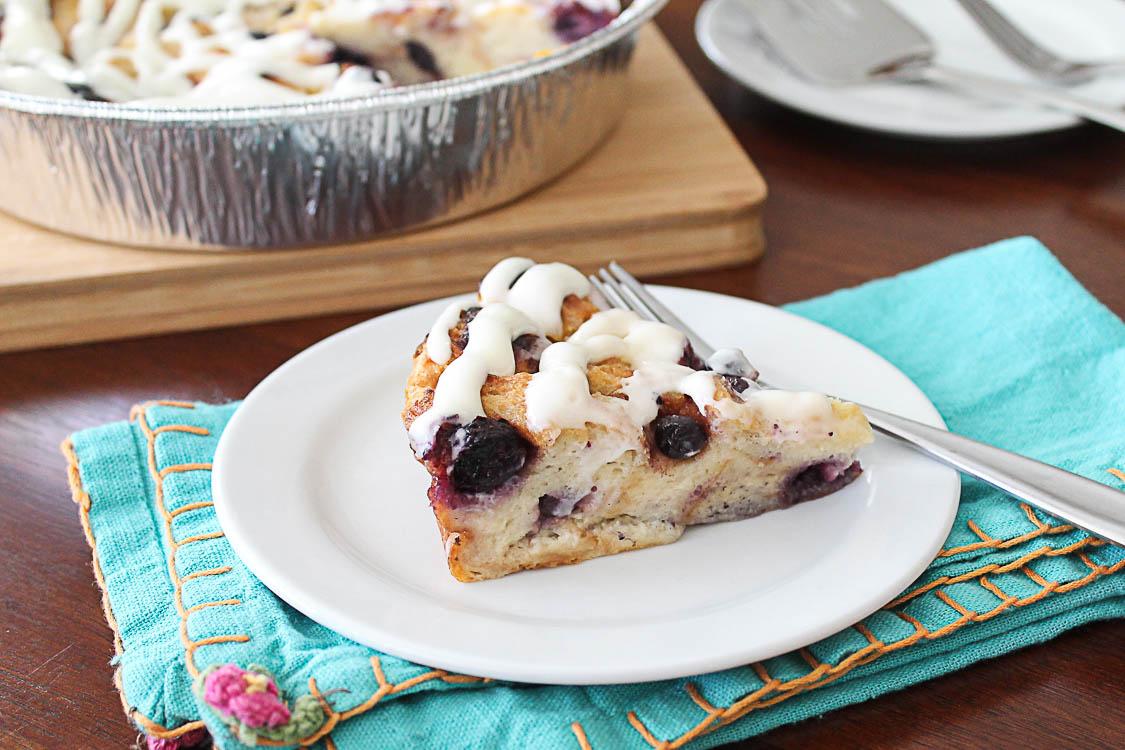 Blueberry Lemon Curd Bread Pudding