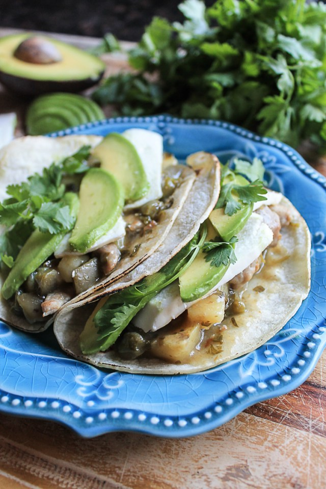 Chile Verde Tacos with Nopales and Potatoes