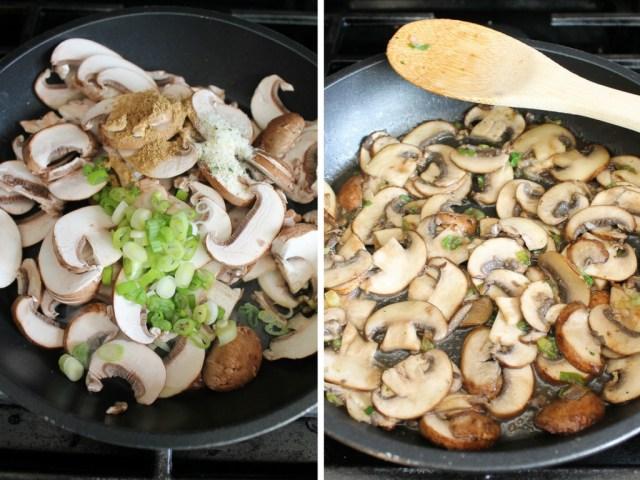 Sautéed mushrooms with green onions, coriander and garlic salt.