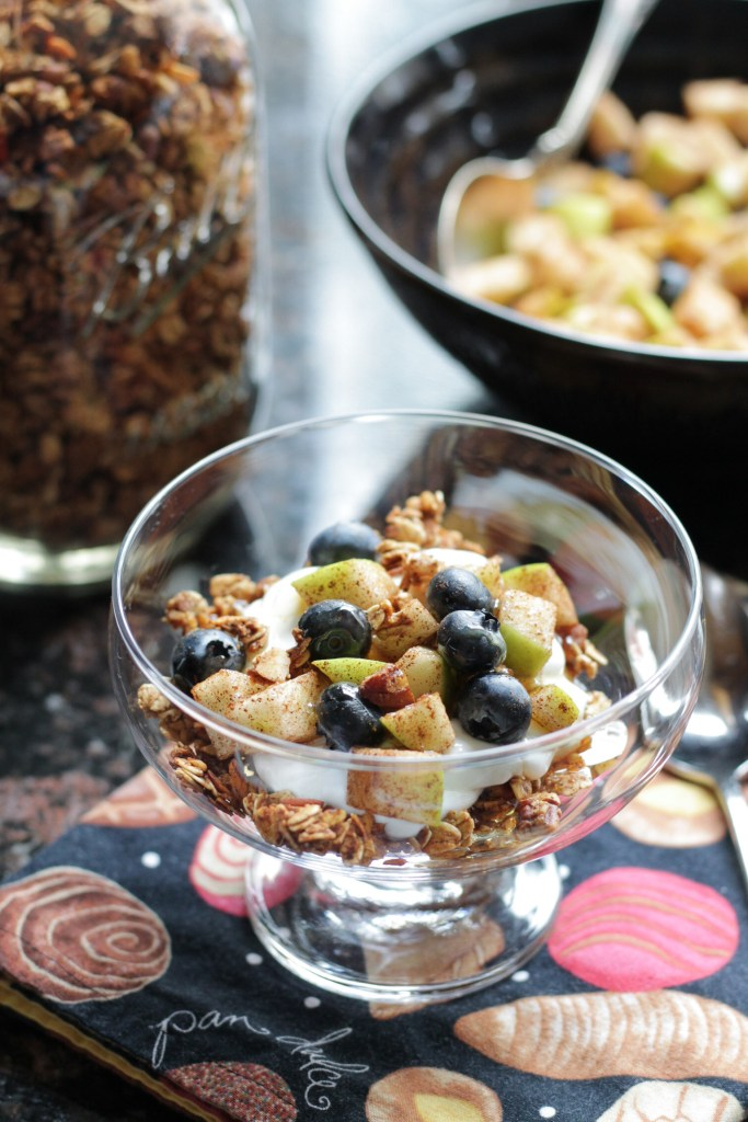 Homemade granola tossed with cinnamon sugar coated granny smith apples pieces and blueberries served with plain Greek yogurt in a glass cup.