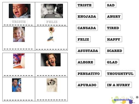 Bilingual feeling bingo game