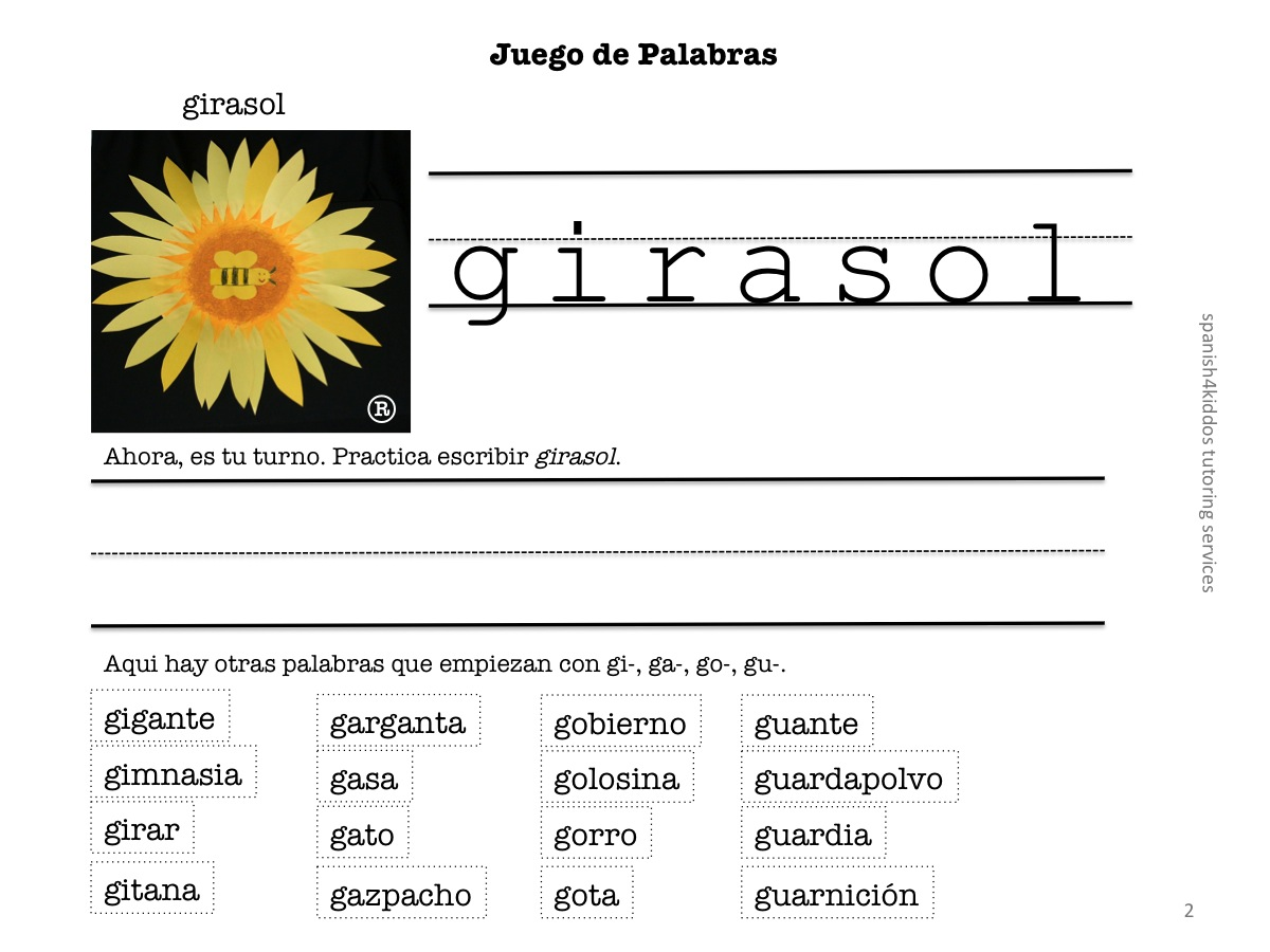 Learning Spanish Words With Gi Ga Go Gu