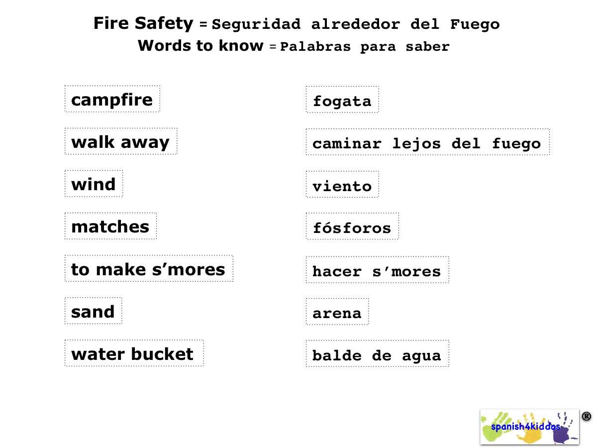 Fire Safety Terms In English And Spanish