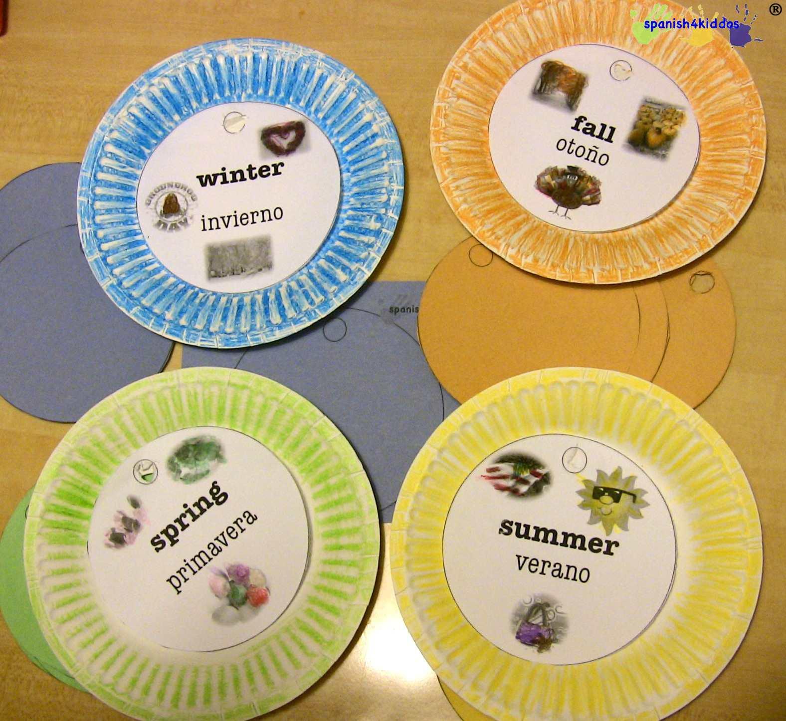 Spanish Seasons Cut Outs Spanish4kiddos Educational
