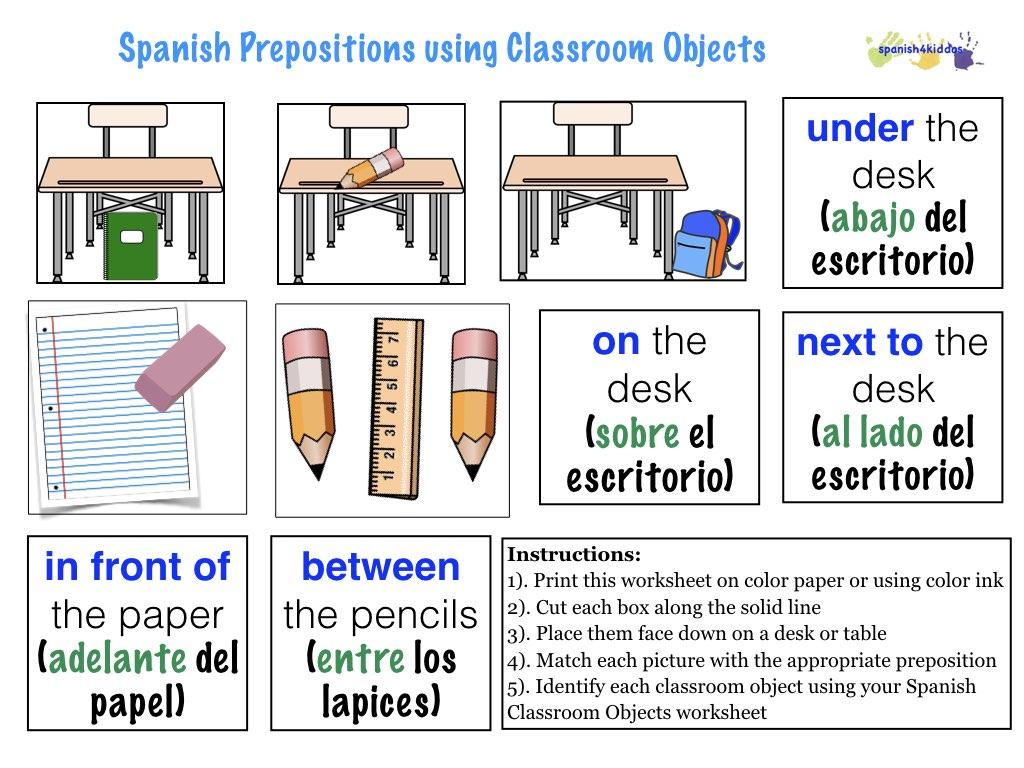 Spanish Prepositions Spanish4kiddos Educational Resources
