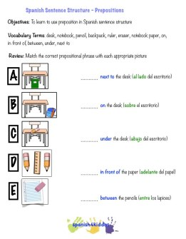 spanish sentence structure preposition