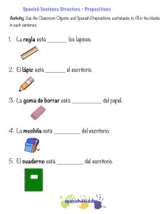 spanish sentence structure prepositions