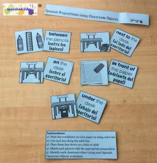 Answer key to Spanish Prepositions Matching Memory Game