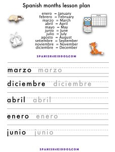 teach months in Spanish