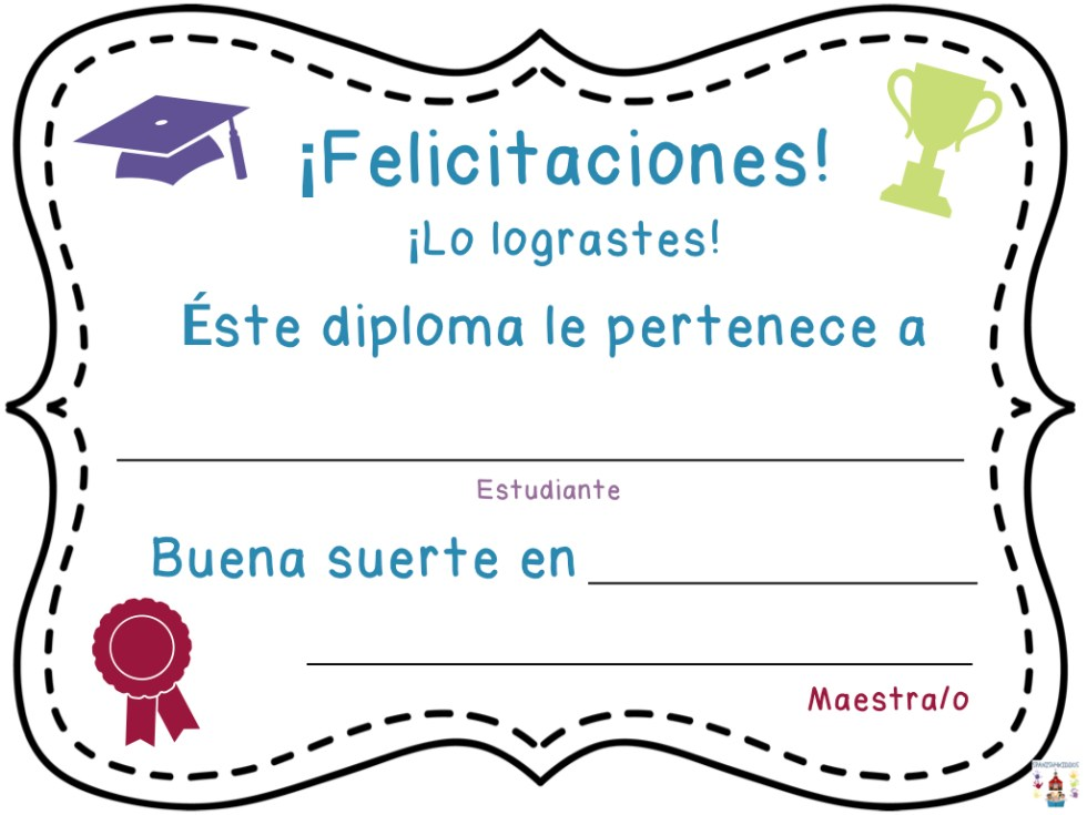 end of the school year award in Spanish