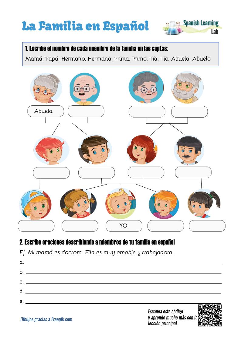 medium resolution of Family Tree in Spanish: PDF Worksheet - SpanishLearningLab