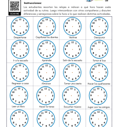 Daily Activities \u0026 Time in Spanish - PDF Worksheet - SpanishLearningLab [ 1590 x 1229 Pixel ]