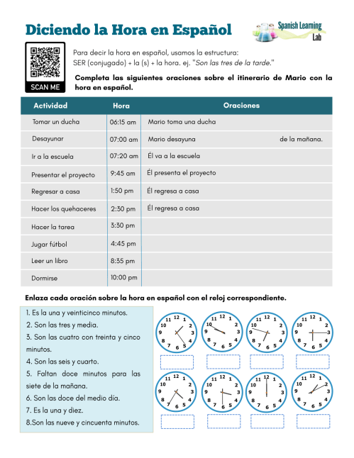 small resolution of Telling Time in Spanish - PDF Worksheet - SpanishLearningLab