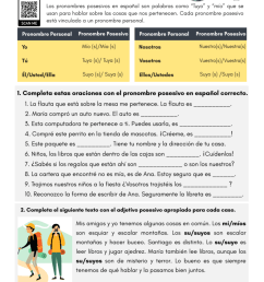 Possessive Pronouns in Spanish - PDF Worksheet - SpanishLearningLab [ 1024 x 791 Pixel ]