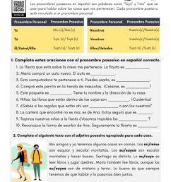 Possessive Pronouns in Spanish - PDF Worksheet - SpanishLearningLab [ 1024 x 791 Pixel ]
