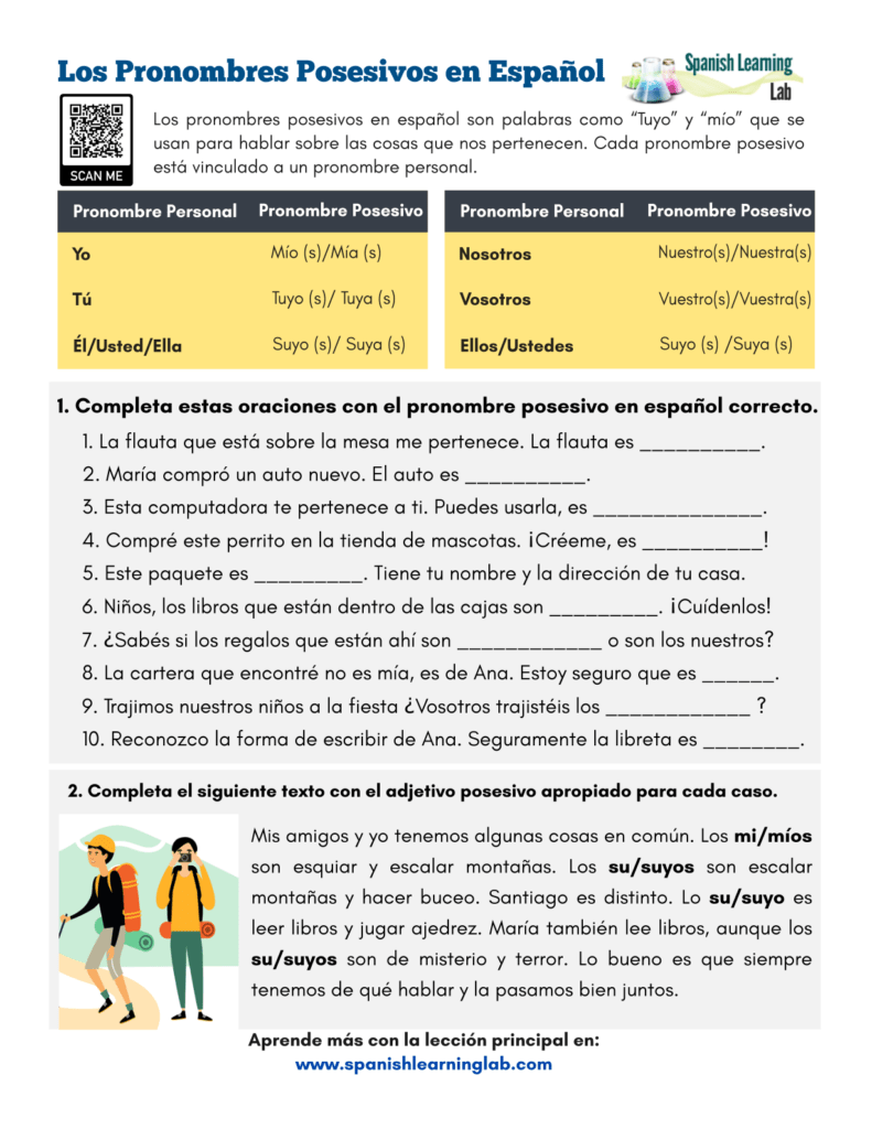 medium resolution of Possessive Pronouns in Spanish - PDF Worksheet - SpanishLearningLab