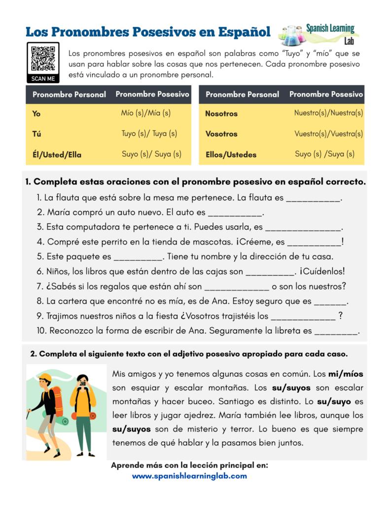 hight resolution of Possessive Pronouns in Spanish - PDF Worksheet - SpanishLearningLab