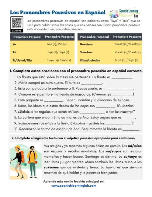 small resolution of Possessive Pronouns in Spanish - PDF Worksheet - SpanishLearningLab