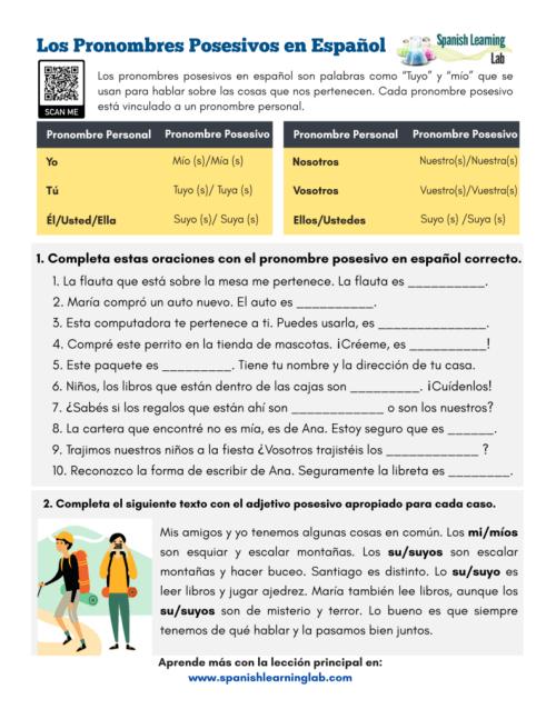 small resolution of Possessive Pronouns in Spanish - PDF Worksheet - SpanishLearningLab